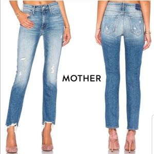 MOTHER The Flirt Cold Feet Ankle Fray High Waist